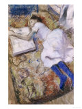 A Young Girl Stretched Out and Looking at an Album Giclee Print by Edgar Degas