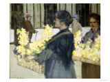 The Flowersellers, Argyle Street, Glasgow, 1915 Giclée-Druck von John Smellie