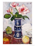 Pink Roses in a Chinese Blue and White Gu-Shaped Vase Poster von George Leslie Hunter