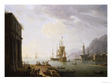 A Mediterranean Seaport, a British Man-O'war and Other Shipping Giclee Print by Thomas Patch