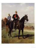 Wilhelm I with His Son at the Battle of Konigsgratz, 1864 Giclée-Druck von Emil Volkers