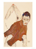 Self Portrait in a Jerkin with Right Elbow Raised, 1914 Giclee-vedos tekijn Egon Schiele