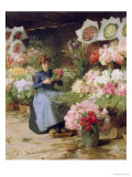 Flower Seller Behind the Madelaine Church Giclee Print by Victor Gabriel Gilbert