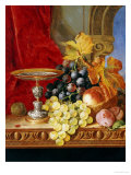 Grapes and a Peach with a Tazza on a Table at a Window Poster by Edward Ladell