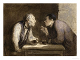 Two Drinkers, circa 1857-69 Giclee Print by Honore Daumier