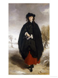 Portrait of Daisy Grant, the Artist's Daughter, Wearing a Black Dress, Red Petticoat, Black Shawl Premium Giclee Print by Sir Francis Grant