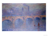 Waterloo Bridge, Misty Sunshine Giclée-tryk af Claude Monet