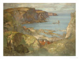 An East Coast Fishing Village, Possibly St. Abbs, with Trawlers Anchored Offshore Giclee Print by James Whitelaw Hamilton