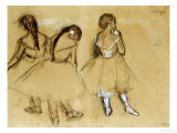 Three Dancers Lmina gicle por Edgar Degas