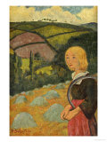 Young Breton Girl and Haystacks, 1924 Konst av Paul Serusier