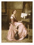Corot's Studio (Young Girl in Pink Dress Sitting by an Easel with a Mandolin) Print by Jean-Baptiste-Camille Corot