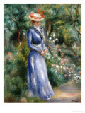 Woman in a Blue Dress Standing in the Garden at Saint-Cloud Giclee Print by Pierre-Auguste Renoir