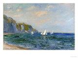 Klippor och segelbåtar vid Pourville Gicléetryck av Claude Monet