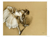 Dancer Adjusting Her Shoe, circa 1890 Art by Edgar Degas