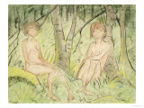 Two Women in the Forest, circa 1925 Giclee Print by Otto Mueller