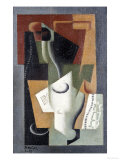 Glass and Bottle, 1919 Print by Juan Gris