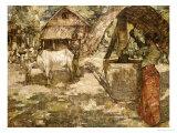 Milling Grain, Ceylon, 1907 Premium Giclee Print by Edward Atkinson Hornel
