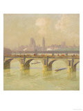 Waterloo Bridge and Hungerford Bridge with the Houses of Parliament Beyond, 1916 Giclee Print by Emile Claus
