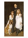 Portrait of a Family with Their Collie Print by Antonio De La Gandara
