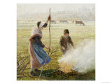 White Frost, Woman Breaking Up Wood, 1890 Giclee Print by Camille Pissarro