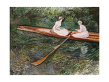 The Pink Rowing Boat Giclee Print by Claude Monet