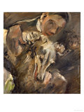 Max Mainzer with a Siberian Greyhound, 1917 Giclee Print by Lovis Corinth
