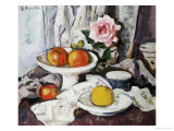 Apples in a White Fruitbowl and a Pink Rose in a Vase Prints by George Leslie Hunter
