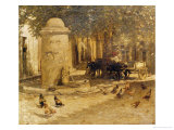 Fountain in a Provencal Village Giclee Print by Henry Herbert La Thangue
