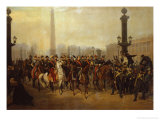 Napoleon with Staff in Place de la Concorde Paris Reproduction procédé giclée par Victor Philippe Auguste De Joncquieres