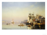 Fishing Boats And Barges On The Thames At Greenwich Lámina giclée por Carl Neumann
