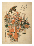 A Beauty Wearing Festival Garb with Two Buckets of Flowers Suspended from a Yoke Giclee Print by Okumura Masanobu