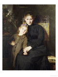 A Mother and Daughter in an Interior Giclee Print by Bertha Wegmann
