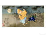 Tsukioka Kinzaburo Yoshitoshi - A Triptych of Fujiwara No Yasumasa Playing the Flute by Moonlight - Giclee Baskı
