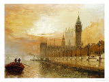 View of Westminster from the Thames Giclee Print by Claude T. Stanfield Moore