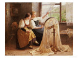 Two Girls at the Frame Giclee Print by Alexander Max Koester