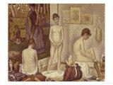 Les Poseuses Including a Reference to Dimanche Apres-Midi Sur la Grande Jatte, Umbrella Poster by Georges Seurat