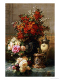 Still Life of Roses and Other Flowers ポスター : ジャン=バプティスト・クロード・ロビー