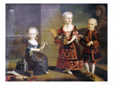 A Girl with a Marmoset in a Box, a Girl with a Triangle Sitting, and a Boy with a Hurdy-Gurdy Premium Giclee Print by Francois Hubert Drouais