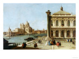 Entrance to Grand Canal, Venice, with Piazzetta and the Church of Santa Maria Della Salute Art by  Canaletto