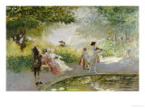 Elegant Figures by an Ornamental Pond Art by Mose Bianchi