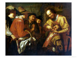 A Quack Dentist Extracting a Tooth, While a Group of Onlookers Watch Nearby Giclée-Druck von Gerrit Van Honthorst