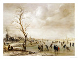 A Winter Landscape with Townsfolk Skating and Playing Kolf on a Frozen River, a Town Beyond Giclee Print by Aert van der Neer