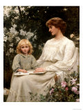 Portrait of a Mother and a Daughter Reading a Book Giclee Print by Edwin Harris