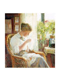 The Seamstress, 1914 Premium Giclee Print by Knud Larsen