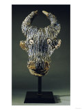 Grassfields Cameroon Visor Mask in the Form of a Water Buffalo with Broad Curved Horns Poster