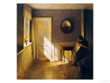 A Girl Reading in an Interior Giclee Print by Peter Ilsted