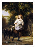 A Mother and Child with a Goat on a Path Prints by Fritz Zuber-Buhler