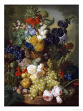 A Still Life of Flowers and Fruit Lámina giclée por Jan van Os