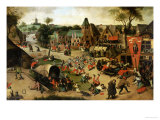 A Carnival on the Feastday of Saint George in a Village Near Antwerp Giclee Print by Abel Grimmer