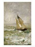 A Sailing Boat in a Choppy Sea Prints by Mose Bianchi